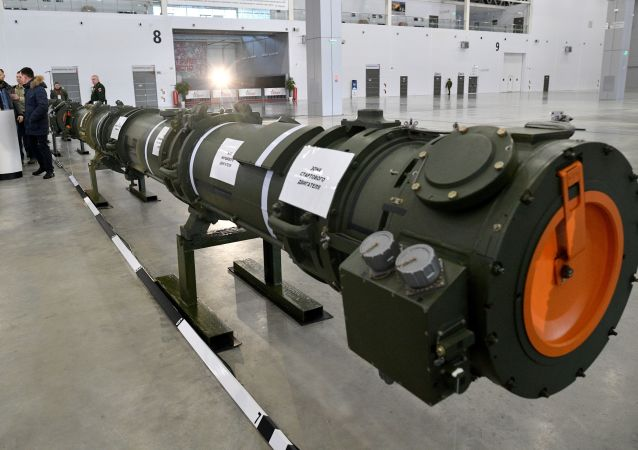 Míssil modernizado 9М729 apresentado pelo Ministério da Defesa russo no pavilhão de exibição Patriot, nos arredores de Moscou