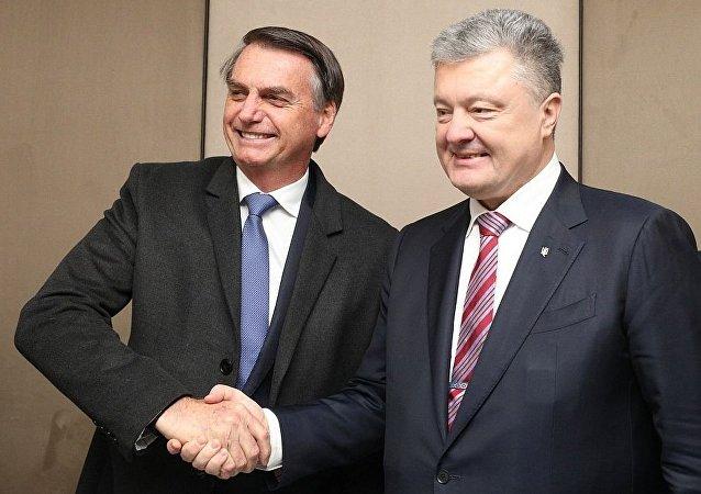 Jair Bolsonaro se encontrou com Pyotr Poroshenko em Davos, na Suíça
