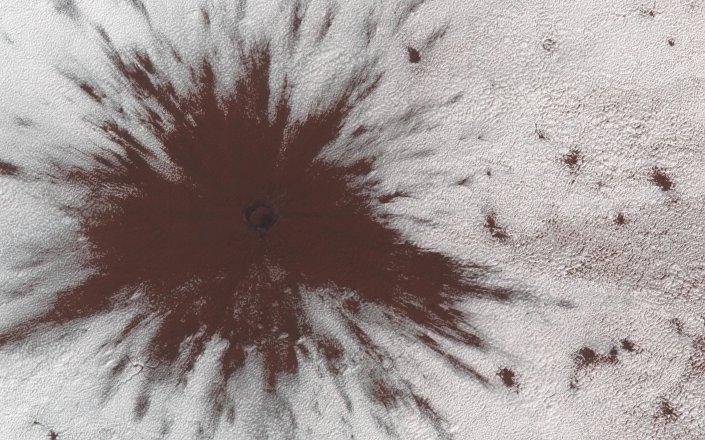 Cratera causada pelo impacto de um meteorito na superfície de Marte