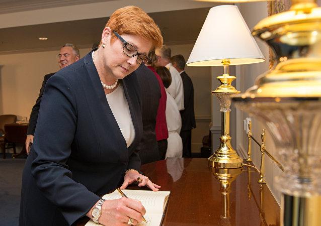 A então ministra da Defesa da Austrália, Marise Payne, em visita ao Pentágono, em Washington, nos EUA, em setembro de 2017.