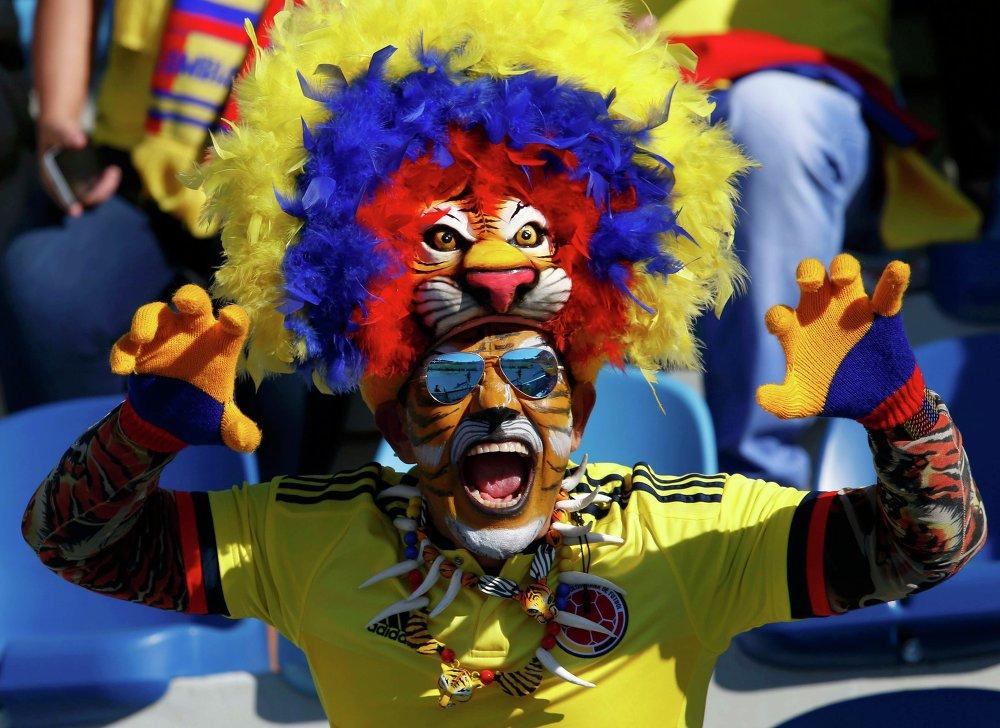 Um torcedor colombiano durante o encontro com a Venezuela em 14 de junho