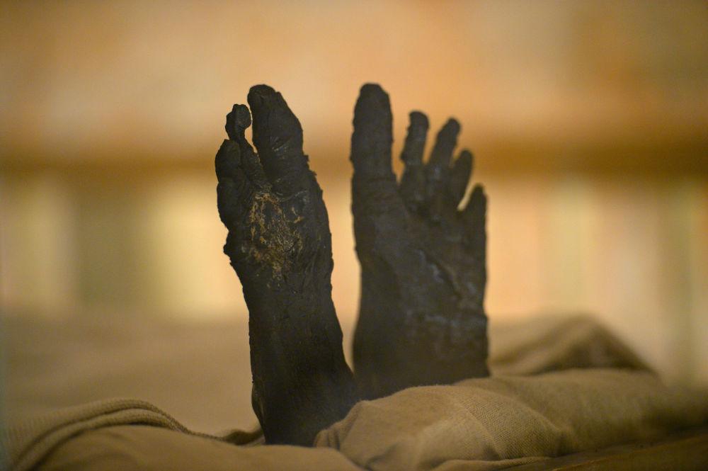 As pernas da múmia pertencente a Tutancâmon, faraó do Antigo Egito
