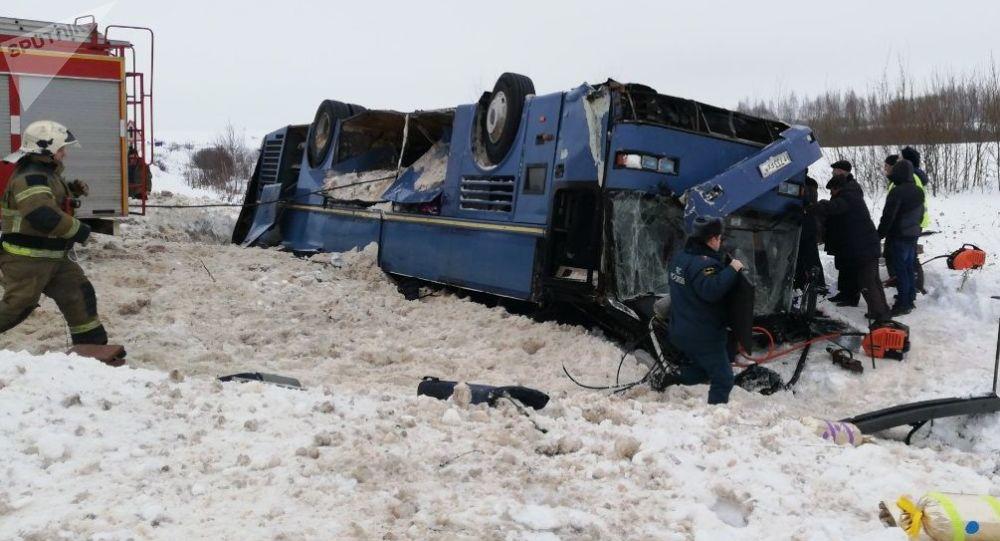 Ônibus acidentado na região de Kaluga, Rússia, 3 de fevereiro de 2019