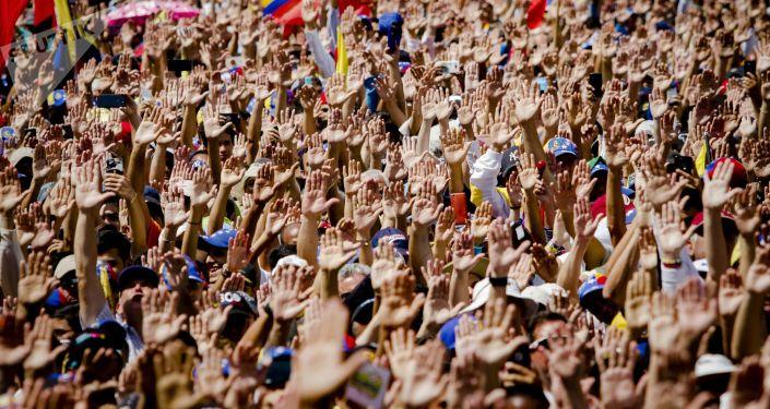 Manifestação dos partidários do autoproclamado presidente interino da Venezuela e líder da oposição, Juan Guaidó, em Caracas