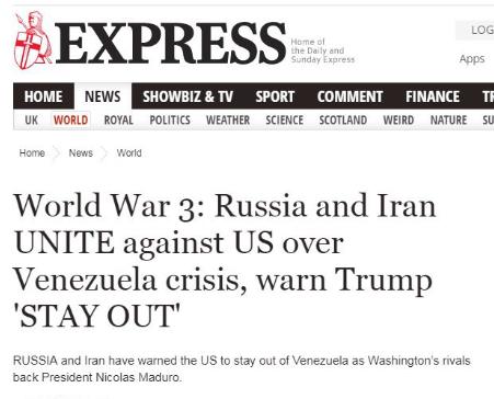 Captura de tela do The Daily Express: 3ª Guerra Mundial: Rússia e Irã se juntam contra EUA sobre crise da Venezuela, avisam Trump para 'cair fora'