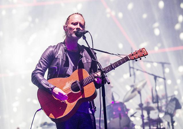 Thom Yorke, do Radiohead, durante uma apresentação no Festival Coachella, em 2017