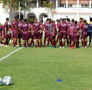 Momento de um treinamento do Bangu no CDA, na zona oeste do Rio
