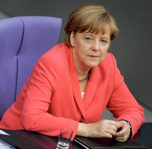 A chanceler alemã Angela Merkel em Bundestag