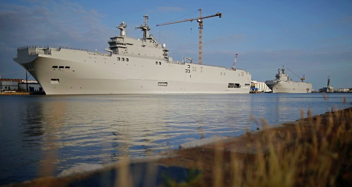 Two Mistral-class helicopter carriers Sevastopol (L) and Vladivostok are seen at the STX Les Chantiers de l'Atlantique shipyard site in Saint-Nazaire, western France, May 21, 2015.