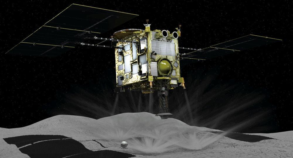 Компьютерная графика с изображением зонта Хаябуса-2 на астероиде Рюгу