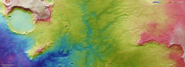 Vista de antiga rede fluvial em Marte / ESA