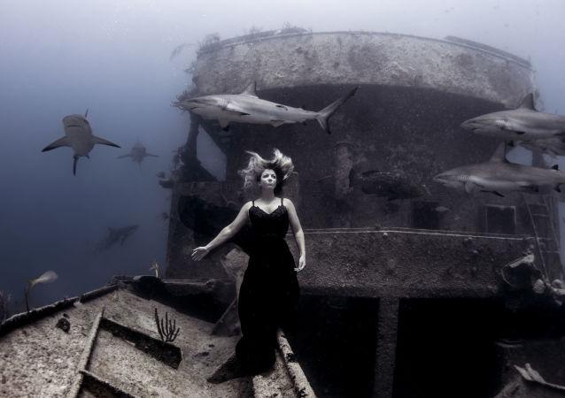 Passeio Noturno com Amigos do fotógrafo americano Ken Kiefer, capturada nas águas de Bahamas