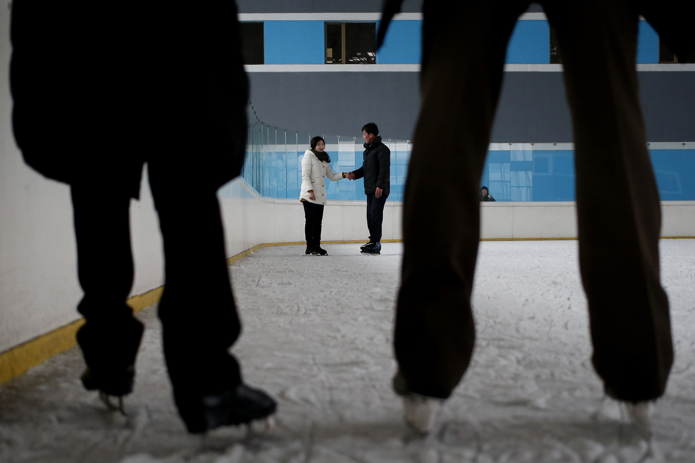 Pista de patinagem em Pyongyang
