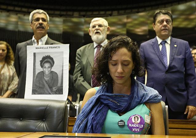 Viúva de Marielle Franco, Mônica Benício, na Câmara dos Deputados (arquivo)
