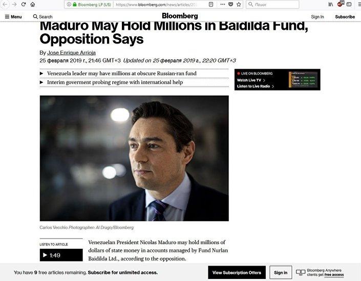 O artigo da Bloomberg sobre Carlos Vecchio