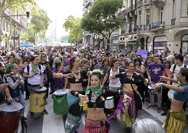 Manifestação pelo Dia Internacional da Mulher em Buenos Aires, capital da Argentina
