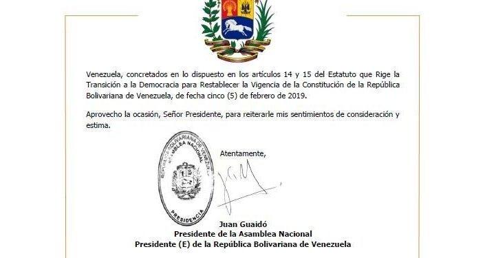 Assinatura de Juan Guaidó no pedido enviado ao presidente da Suíça