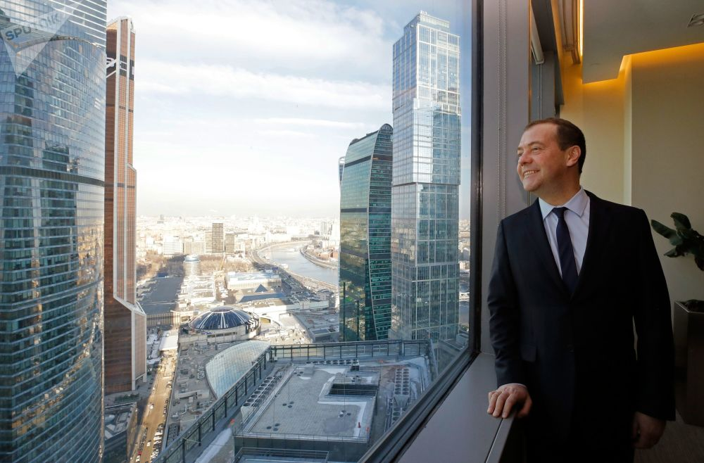 Primeiro-ministro da Rússia, Dmitry Medvedev, no Centro Internacional de Negócios de Moscou