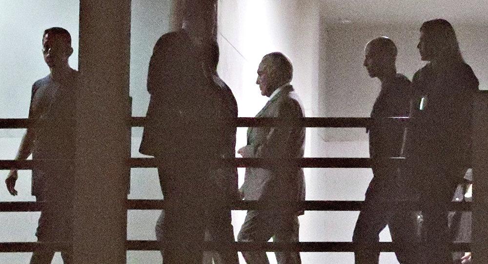 O ex-presidente Michel Temer na sede da Polícia Federal no Rio de Janeiro.