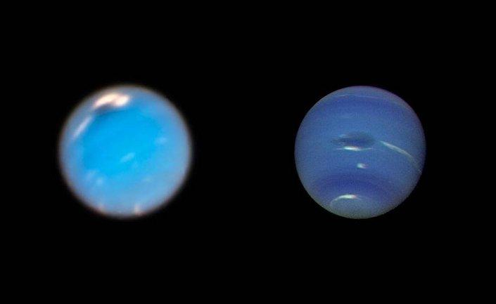 A composição, criada de imagens, captadas pelo telescópio Hubble (à esquerda) e espaçonave Voyager 2 (à direita) mostra tempestade em Netuno