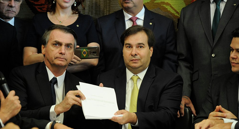 Presidente da Câmara dos Deputados, dep. Rodrigo Maia, recebe o Presidente da República, Jair Bolsonaro (arquivo)