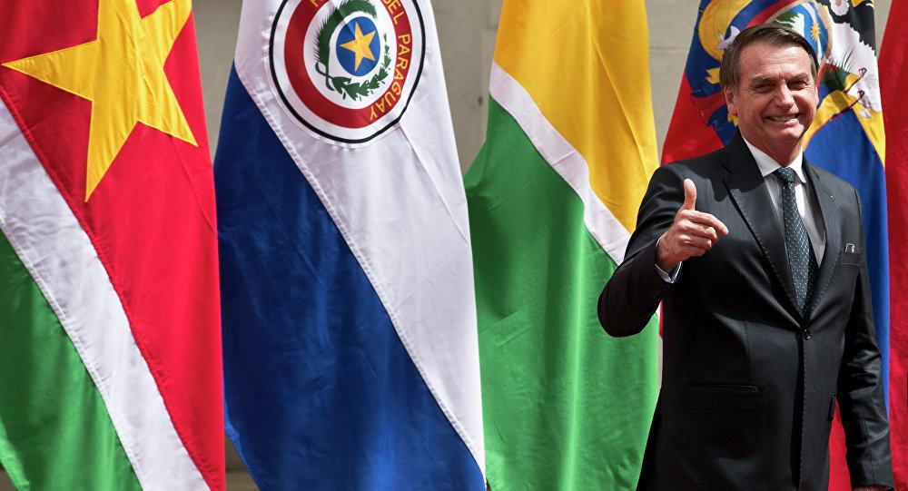 Jair Bolsonaro durante cúpula do Prosul no palácio presidencial La Moneda, em Santigo, Chile, 22 de março de 2019