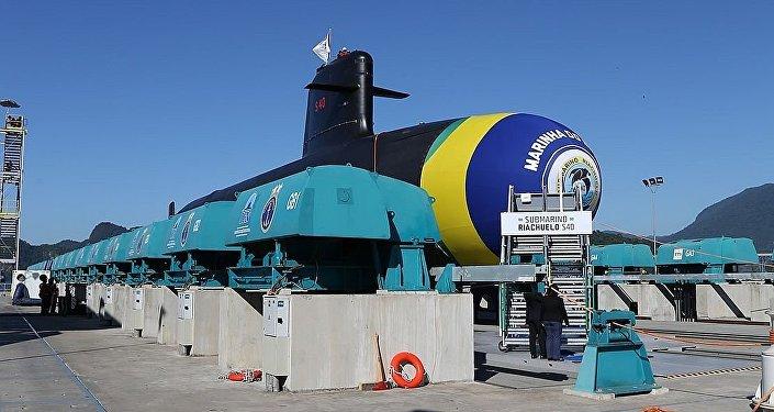 Submarino de classe Scorpène S40 Riachuelo, o primeiro do Prosub a ser lançado ao mar, em 2018