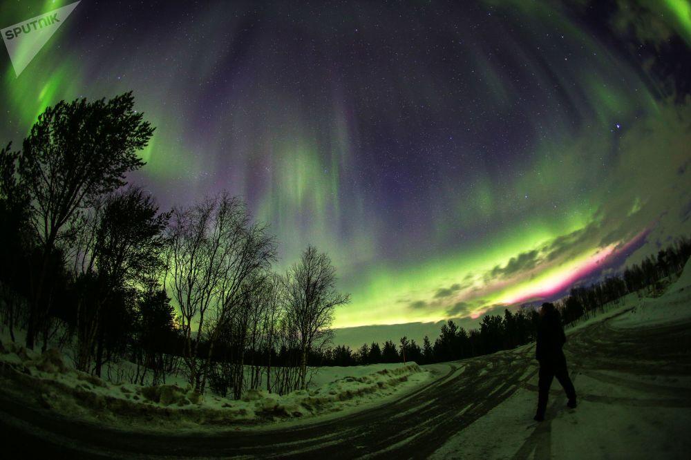 Luzes do Norte iluminam a região de Murmansk
