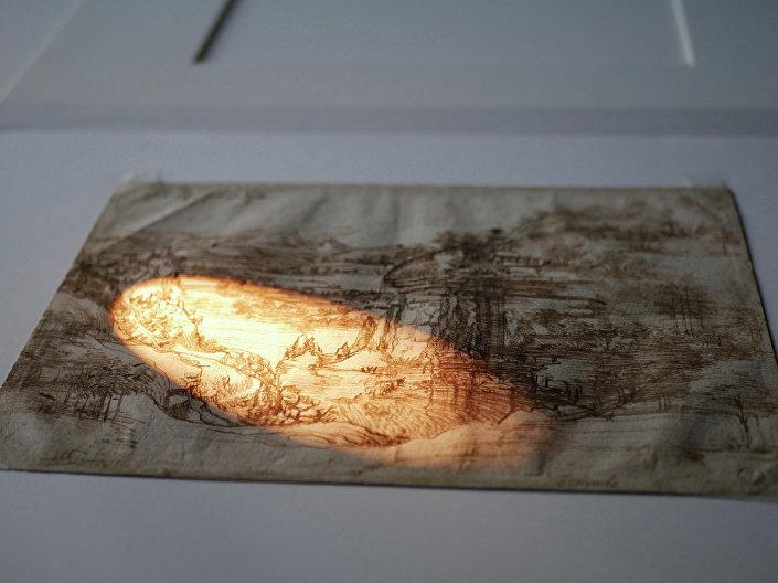 'Paisagem 8P', obra de Leonardo Da Vinci é analisada em Florença