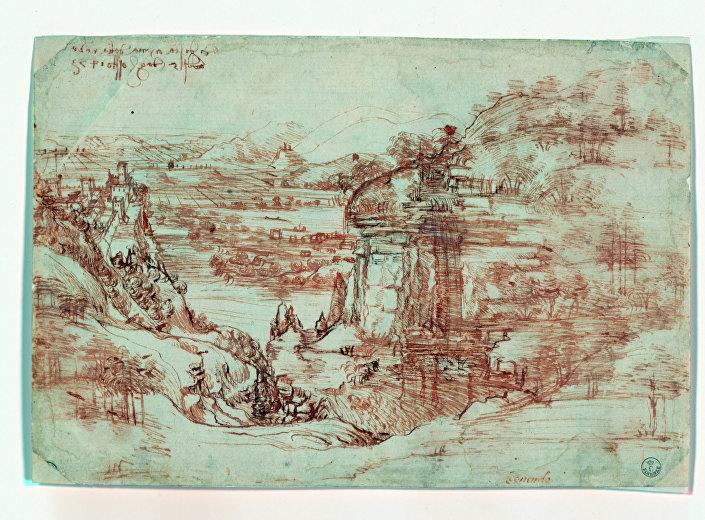 'Paisagem 8P' do artista Renascentista Leonardo Da Vinci, em Florença