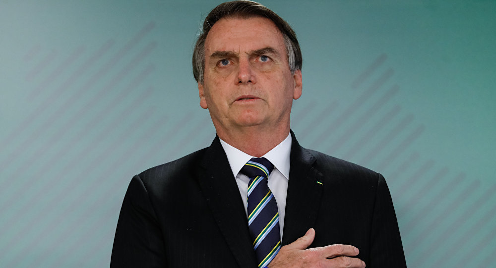 O presidente do Brasil, Jair Bolsonaro, durante evento em Brasília em 9 de abril de 2019