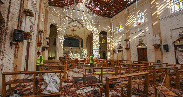 A view of St. Sebastian's Church damaged in blast in Negombo, north of Colombo, Sri Lanka, Sunday, April 21, 2019.