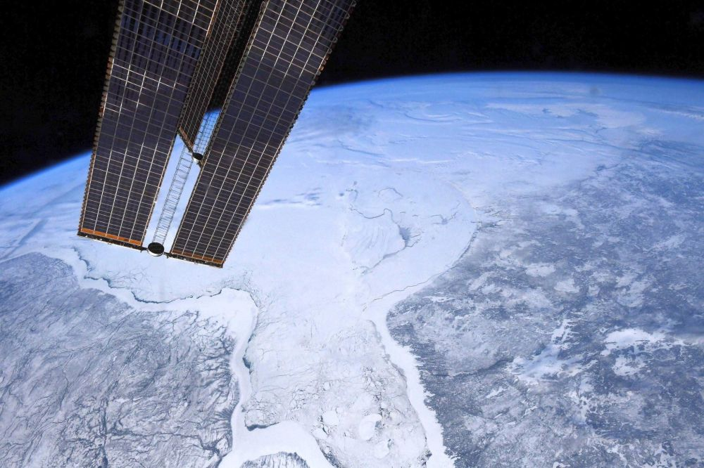Baía de Hudson (Canadá) vista da Estação Espacial Internacional (EEI)