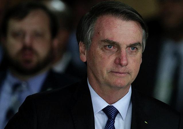 Jair Bolsonaro chegando ao encontro no Palácio do Planalto em Brasília (foto de arquivo)