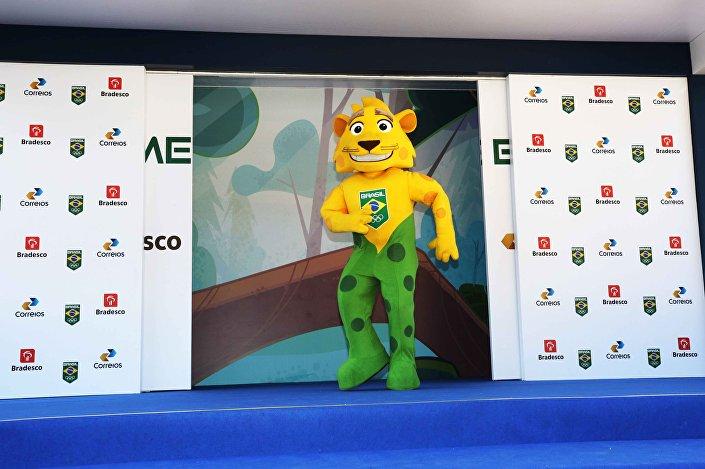 Mascote do Time Brasil, a onça-pintada Ginga, que vai acompanhar a delegação brasileira nos Jogos Olímpicos e em todas as competições internacionais