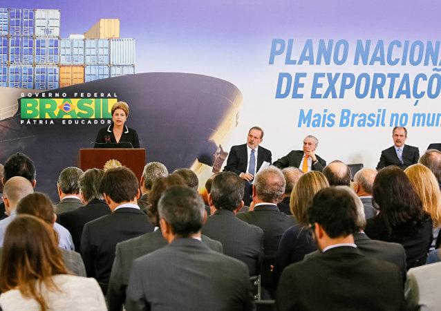 Presidenta Dilma Rousseff durante Cerimônia de lançamento do Plano Nacional de Exportações. (Brasília - DF, 24/06/2015)
