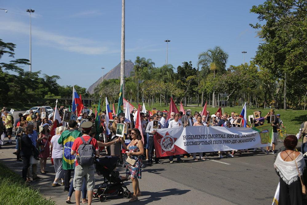 Familiares de combatentes se concentram na marcha do Regimento Imortal, no Rio de Janeiro