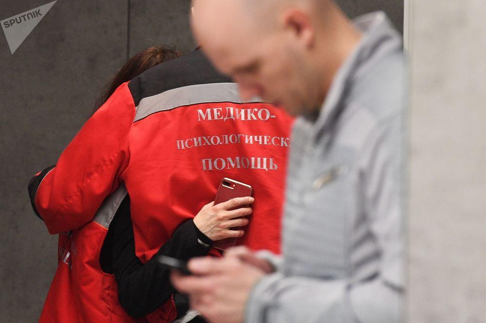 Funcionário do serviço de apoio médico e psicológico no Aeroporto Sheremetyevo