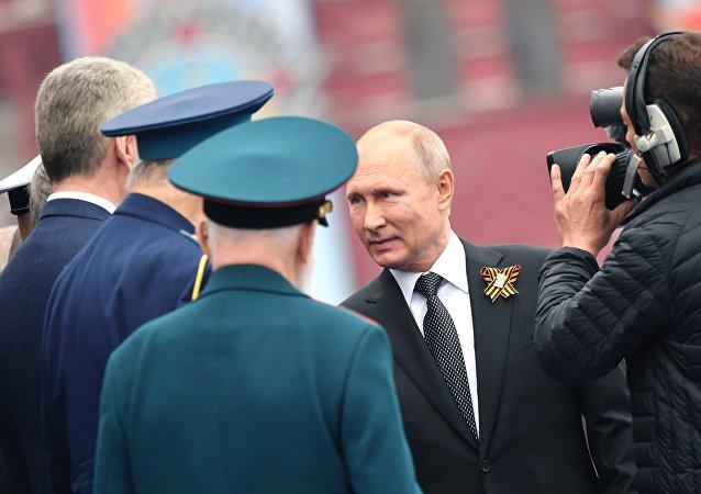 Presidente da Rússia Vladimir Putin chega à Praça Vermelha para assistir a Parada da Vitória, 9 de maio de 2019