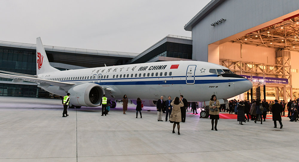 Boeing 737 MAX 8 avião entregue à Air China durante uma cerimônia em dezembro de 2018 (arquivo).
