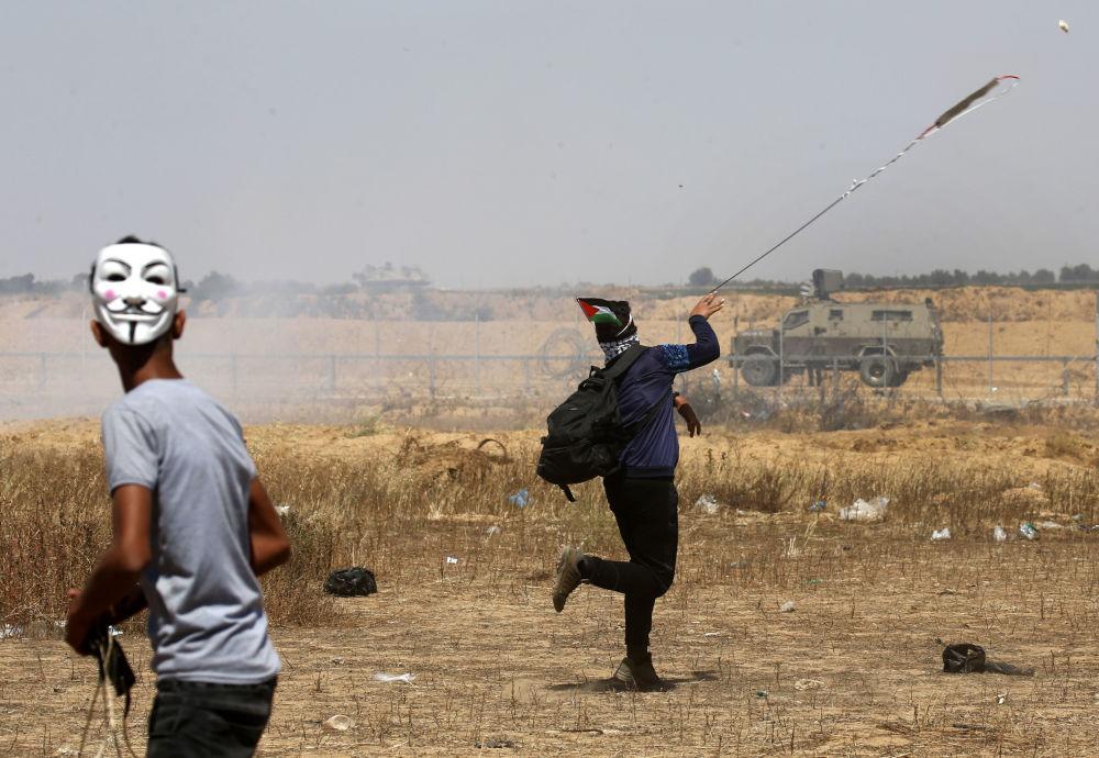 Manifestantes palestinos em Gaza