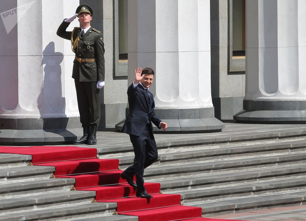 Presidente ucraniano Vladimir Zelensky, após a cerimônia de inauguração na Suprema Rada em Kiev, Ucrânia