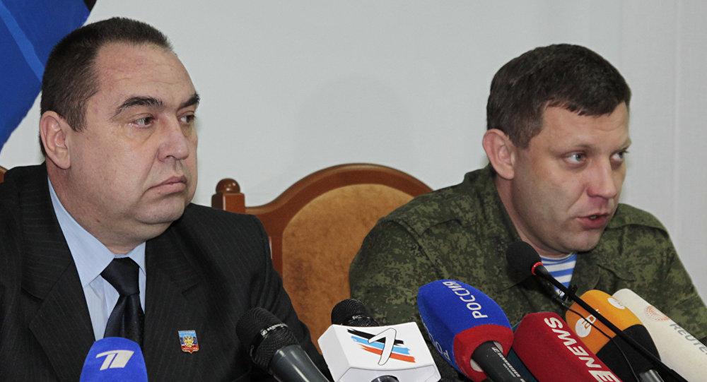 Os líderes das Repúblicas Populares de Donetsk e Lugansk, Aleksandr Zakharchenko e Igor Plotnitsky