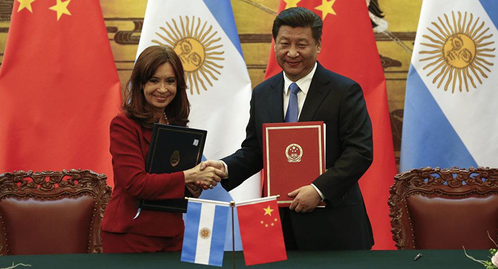 A presidente da Argentina Cristina Fernández de Kirchner e o presidente da China Xi Jinping