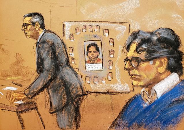 O procurador-assistente dos EUA, Mark Lesko e Keith Raniere em sessão no Tribunal Federal dos EUA no Brooklyn.