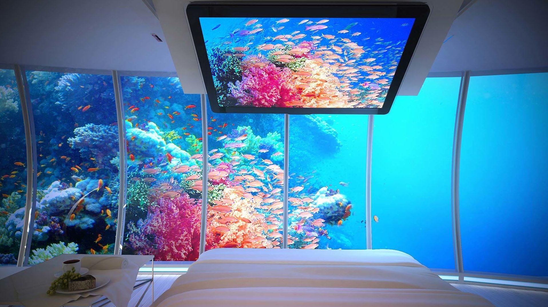 Interior do hotel conceito Water Discus