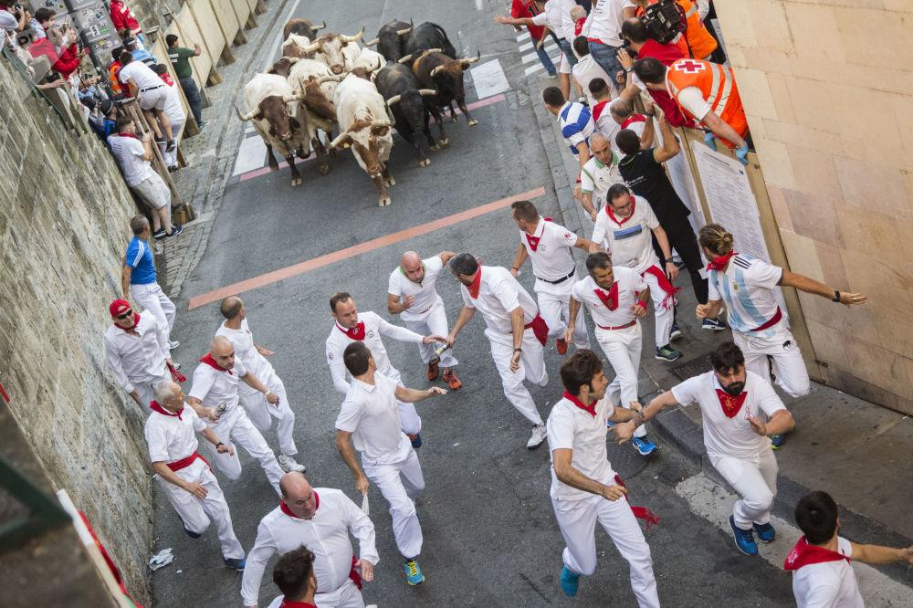 Participantes do Festival de São Firmino durante a corrida de touros em Pamplona (Espanha)