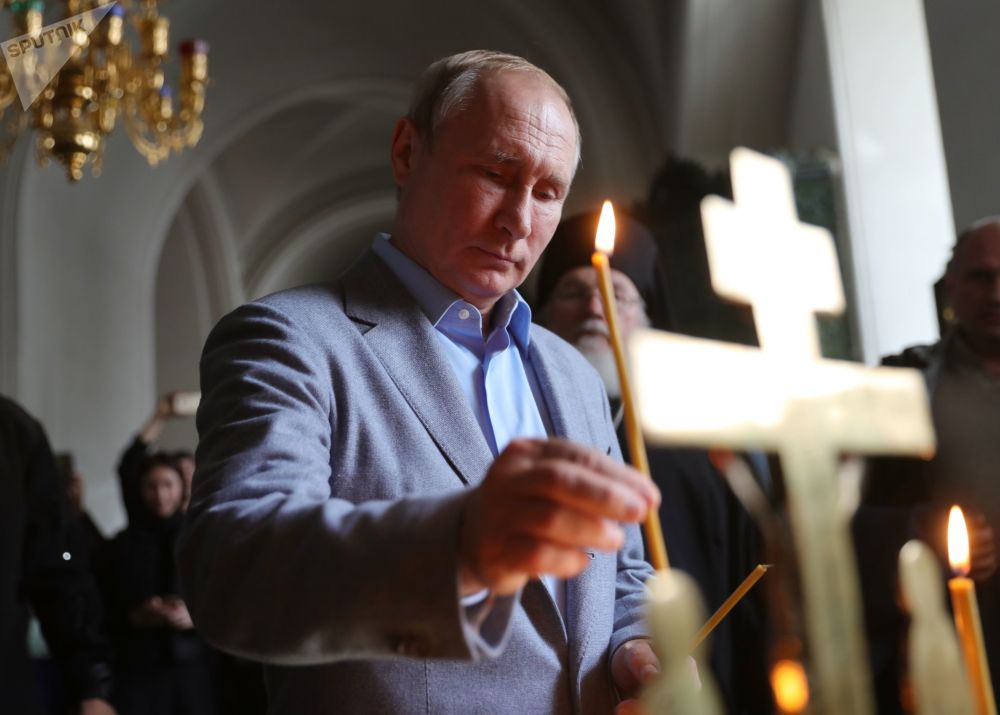 Presidente russo Vladimir Putin no mosteiro ortodoxo estauropégico de Valaam, localizado na região da Carélia