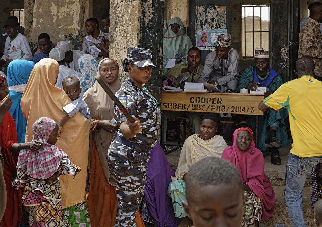 Local de votação em Kano, no norte da Nigéria, em 23 de fevereiro de 2019