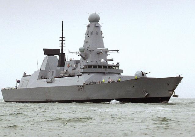 HMS Duncan, navio militar britânico enviado ao Golfo Pérsico em meio a tensões com o Irã. Foto de 12 de julho de 2019.